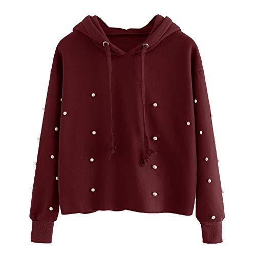 TianWlio Hoodie Pullover Damen Sweatshirt Langarmshirt Bluse Kapuzenpullover Frauen Solid Langarm Hoodies Blusen Sweatshirt Pullover Top Bluse