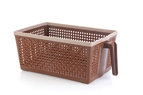Nayasa Frill No. 1 Plastic Fruit Basket, Small, Chocolate