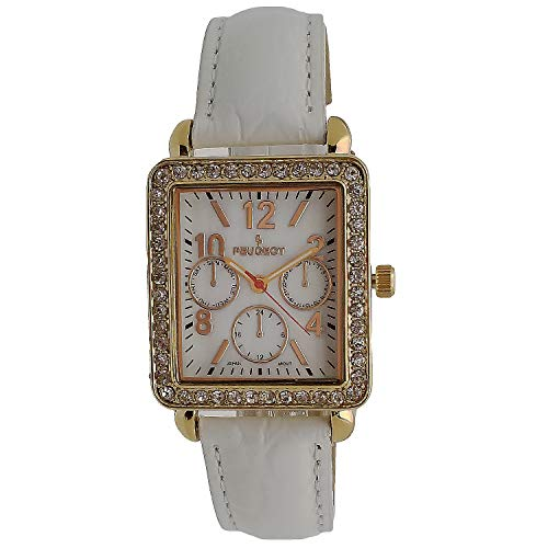 Peugeot Women's Tank Watch 14K Gold Plated with Crystal Bezel and White Leather Strap