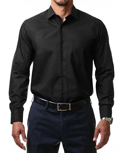 Alessandro Tonelli Herren Klassik Hemd Business Bügelleicht Freizeit Hochzeit Feier Basic Regular Fit Shirt U03-063, Farbe:Schwarz, Größe:45/2XL