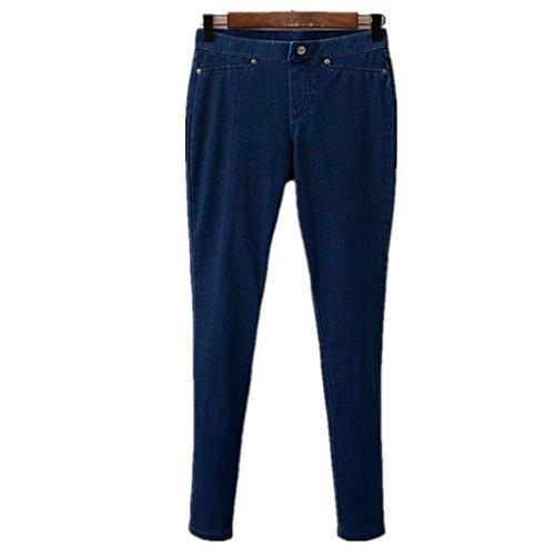 CarShi Jeans Donna Profondo Lungo Pulsante Sciolto Tinta Unita Casual Pantaloni Pocket Slim Premium Retrò Classico Comfort . M