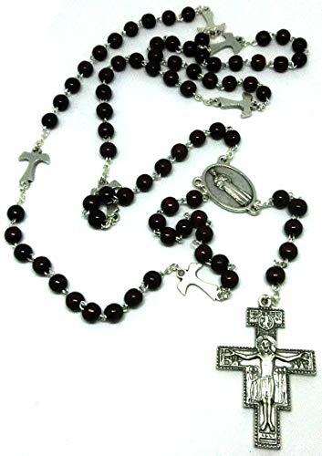 """ROS02-6L Rosenkranz mit Tau-Kreuz 70 + 9 Perlen Kreuzmedaille heiliger Franziskus mit der Aufschrift """"ruega por nosotros"""""""