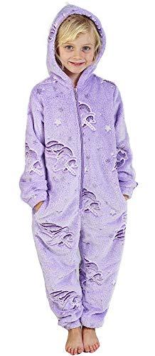 CityComfort Jumpsuit Mädchen Einhorn Onesie Leuchtet im Dunkeln Overall Hausanzug Warme Fleece 3-14 Jahre (3-4 Jahre, ()