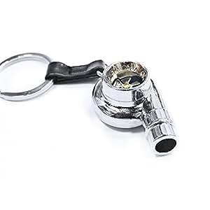 Creative rotatifs Turbo Porte-clés Mode Auto Modèle de pièce de voiture ventilateur préférés de Turbine Turbocompresseur Porte-clés Porte-clés Anneau porte-clés (Noir métallisé)