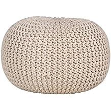 AUBRY GASPARD NPO 1310 Pouf boule en coton écru
