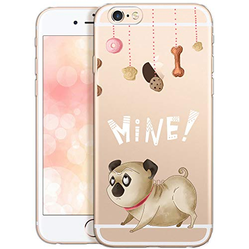 OOH!COLOR Schutzhülle Kompatibel mit iPhone 6 Plus iPhone 6S Plus Hülle Silikon Handyhülle Transparent dünn Case mit Kind Motiv H& Mops Pug Mine (EINWEG)
