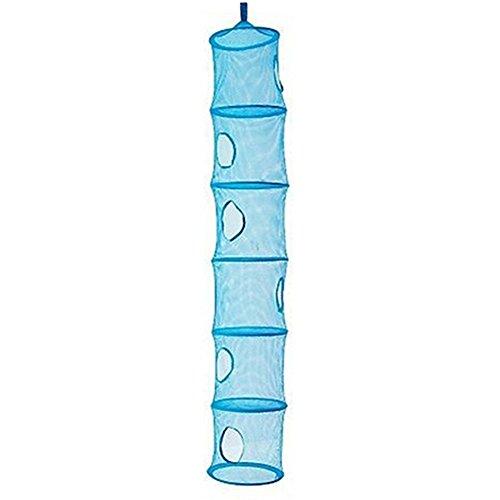 Bluelans® Mesh-hängender Speicher-Korb, 6 Tier zusammenklappbare Network hängend Aufbewahrungstasche für Spielzeug, kleine Kleidung usw. (Blue) (Lagerung-körbe Hängende)