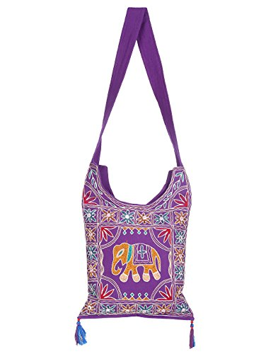 Purple bag Girls Jhola Bags Rajasthan Embroidery Cotton Jaipuri Hand Bag for Girl Women Ethnic Design Ladies By Rajrang  available at amazon for Rs.449