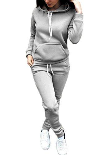 Donna Tuta Da Ginnastica 2 Pezzi Felpa Con Cappuccio+Lungo Pantaloncini Training Ispessisce Sportiva Calda Puro Colore Manica Lunga Casual Jogging Pullover Hoodie+Pantaloni Grigio