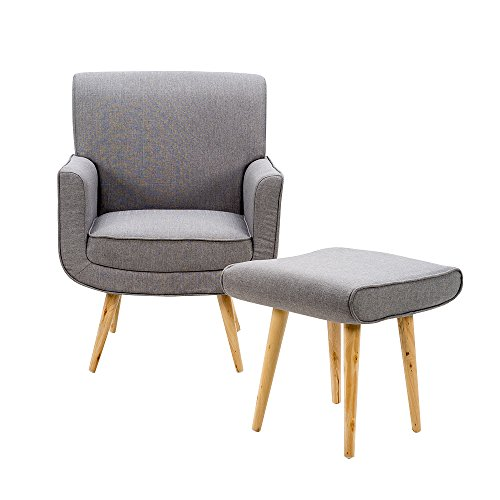 MissSnower Modern Fabric Accent Armchair Tub Chair & Footstool Sage Sofa for Living Dining Room Bedroom Lounge Office(Gray)