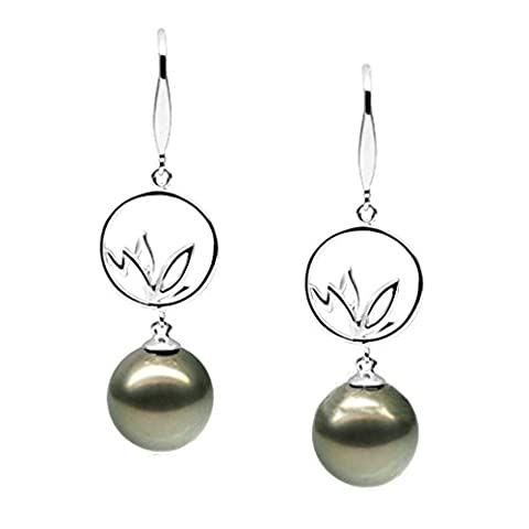 AMDXD Jewelry 925 Sterling Silver Custom Make Earring Women Drop Earrings 10MM Round Tahitian Black Pearl