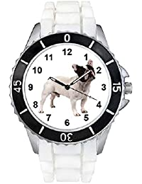 Bulldog francés Unisex Reloj para hombre y mujer con correa de silicona blanco