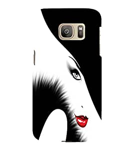 PrintVisa Stylish Beautiful Girl Art 3D Hard Polycarbonate Designer Back Case Cover for Samsung Galaxy S7