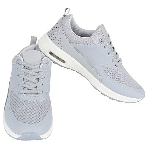 Damen Sportschuhe | Runners Sneakers | Laufschuhe Fitness | Trendfarben | Sportliche Schnürer Hellgrau Weiss