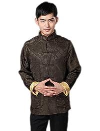 JTC Mens Classic Tai Chi Top Kung Fu Jacket Chinese Shirt Green&Yellow