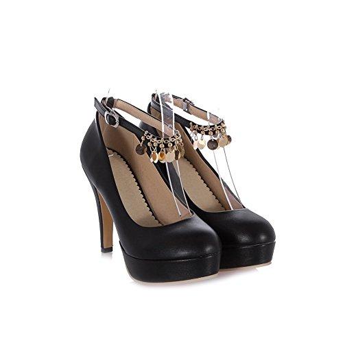 AgooLar Femme Rond Stylet Matière Souple Couleur Unie Boucle Chaussures Légeres Noir