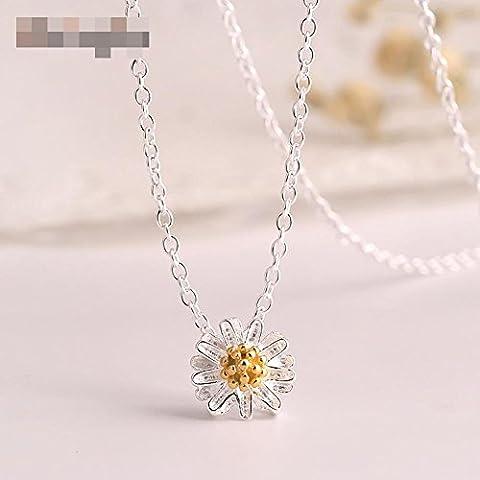 925 Silberne Kunst Retro Halskette Frauen Kurzer Absatz Kleine Gänseblümchen Blume Anhänger Kette Clavicle Kette 45cm