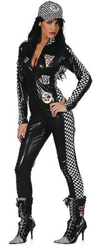 Sport Kostüme (Damen Schwarz Speed Queen Racer Mädchen PVC Overall F1 Sexy Sport Kostüm Kleid Outfit 8 10)