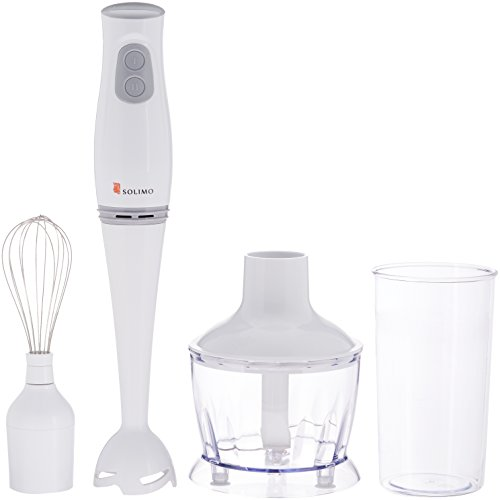 Amazon Brand - Solimo 200-Watt 3-in-1 Hand Blender with Blending Jar, Chopper Bowl, Whisking Attachment