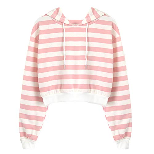 TWIFER Damen Kapuzenpullover Stripe Langarm Hoodie Sweatshirt Pullover mit Kapuze - Trikot Kurzarm Ringer T-shirt
