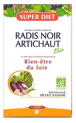 SuperDiet Radis noir Artichaut Digestion Bien être bio 20 ampoules de 15ml soit 300ml