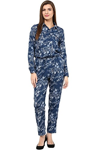 The Gud Look Women's Navy Allover Print Jumpsuit