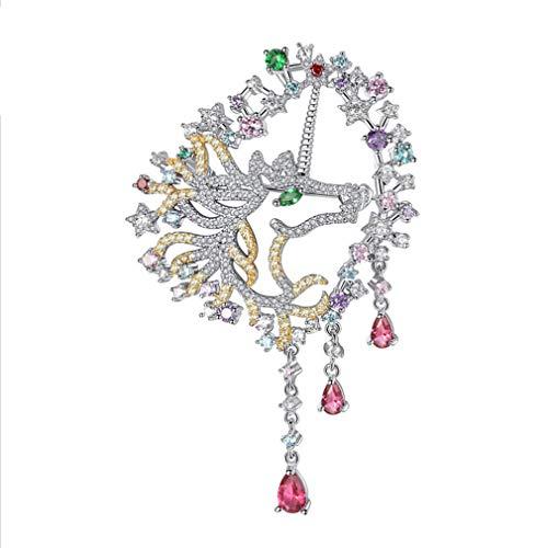 TIZIKJ Frauen Brosche Mode Farbe Zirkon Intarsien Blume, Pferd Schmuck Für Abendessen Zubehör Oder Geschenke Für Die Liebsten