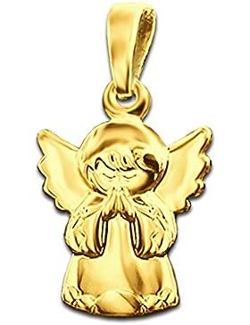 CLEVER SCHMUCK-SET Goldener Anhänger kleiner Kinderengel betend 12 mm und glänzend 333 GOLD 8 KARAT