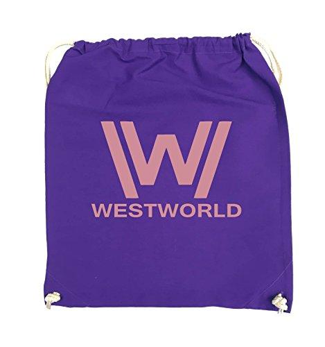 Borse Da Commedia - Westworld - Logo - Turnbeutel - 37x46cm - Farbe: Schwarz / Pink Lila / Rosa