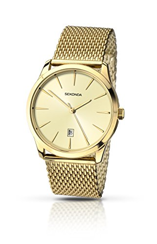 Sekonda-Mens-Quartz-Watch-with-Beige-Dial-Analogue-Display-and-Gold-Stainless-Steel-Bracelet-104327