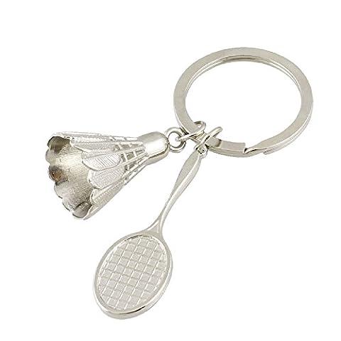 Como silberfarbenes Metall Battledore Badminton Ball Anhänger Schlüsselanhänger für Liebhaber