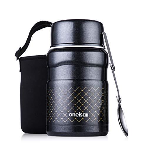 Oneisall thermos da cucina, contenitore termico in acciaio inossidabile da 500 ml con borsa termica e cucchiaio per pranzi, cibi caldi o bambini