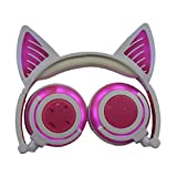 TIAN Verstellbare Universelle Kompatibilität Auf Ohrhörern LED-Kopf Montiert Leuchtend Faltbare Handy-Musik-Headset Für Kinder,Pink