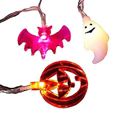 Veronivan LED Halloween Deko Lichterkette Lila Fledermaus Licht/Gelb Kürbis Licht/Weiß Geisterlicht Geeignet für Halloween Deko (Fledermaus Lila Halloween Lichter)