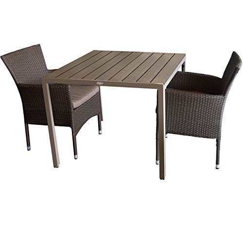 3tlg. Gartengarnitur Aluminium Gartentisch 90x90cm mit Polywood Tischplatte Mokka + Rattansessel, stapelbar, Polyrattanbespannung, braun-meliert inkl. Sitzkissen