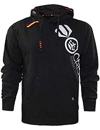 New Mens Crosshatch Branded Printed Pullover Hoodie Shoulder Zip Sweatshirt Top