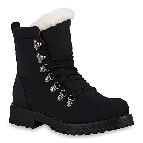 Damen Schuhe Worker Boots Warm gefüttert mit Blockabsatz Schwarz Weiss