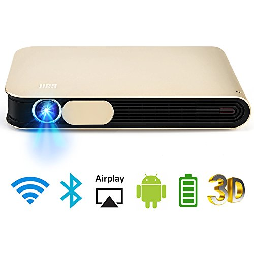 WOWOTO DLP Mini Beamer 3D Full HD LED Projektor 3500 Lumens Unterstützt 1080p mit Akku Android 4.4 OS WiFi HDMI USB AV AirPlay Bluetooth für Laptop Handy Tablet PC TV PS4 XBOX Heimkino Beamer