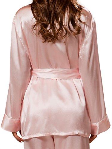 ElleSilk Seidenpyjama-Set für Frauen, Spitzenqualität Maulbeerseide, sehr weich Hellrosa/Weiß