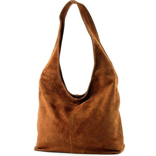 Borsa a mano borsa a tracolla shopping bag donna in vera pelle italiana T02 Dunkelcamel