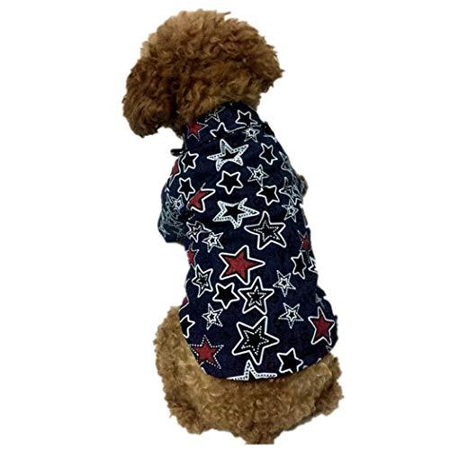 AMURAO Sommer Haustier Hund Shirt Star Print Katze Weste Welpen Denim Pitbull Bulldog Kleidung für kleine, mittlere Hunde -