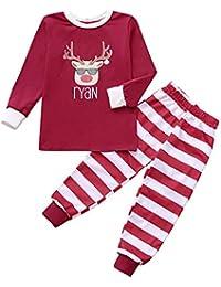 FRAUIT Family Casual Santa Tops Blusa Pantalones Pijamas Familiares Ropa de Dormir Juego de Navidad Pijamas de Rojos y Verdes Familiares Ropa de Dormir Mujer Hombre Bebé Niño Niña de Pijamas