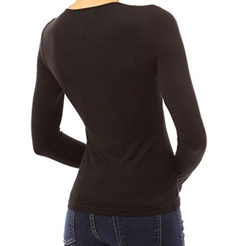Minetom Damenbluse Sexy Tiefe V-Ausschnitt Langarm Party Bluse Hemd Slim Oberteil Tops Shirt Lässige Bluse Schwarz