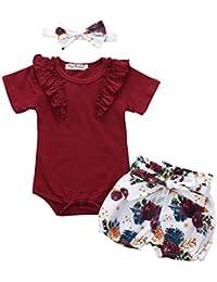 3 Piezas Conjunto de Ropa Bebe Niña Verano Fossen - Mono de Mameluco Floral, Conjuntos de Pantalones Cortos de Bowknot