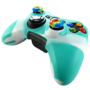Pandaren Silikon hülle skin für Xbox 360 controller (grün + weiß) x 1 + thumb grip aufsätze x 2