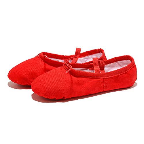 Lefuku Scarpe Balletto 1003 Cuoio Scarpe da Ballo Ballerina Donna Ragazze Principianti Lezioni Balletto Ginnastica Sport Allenamento Mezze Punte Suola Intera camoscio (Rosso 24)