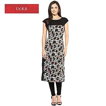 Ives Women's Crepe Printed Kurta (KT107604_XXL _Black_XX-Large)