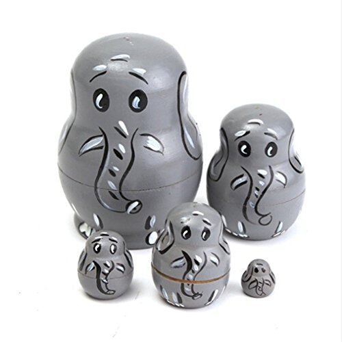 ODN 5tlg. Russian Matryoshka Tierische Elefant Muster Hölzerne Verschachtelung Puppe Ornamente Figuren Kinder Spielzeug Home Office Desktop Decor Handmake (Russische Matroschka Kostüm)