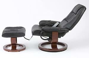 Restwell napoli Fauteuil inclinable et pivotant effet cuir marron-Fauteuil de massage + repose-pieds et base ronde
