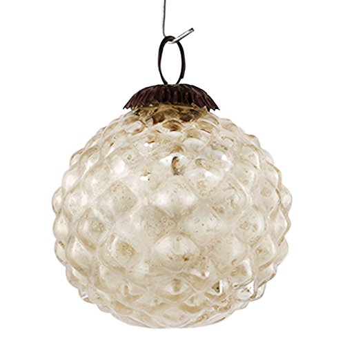 IndianShelf Handmade Custard Apple Glass Christmas Balls Ornament Hanging (Silver,3 Inches)-Pack of...